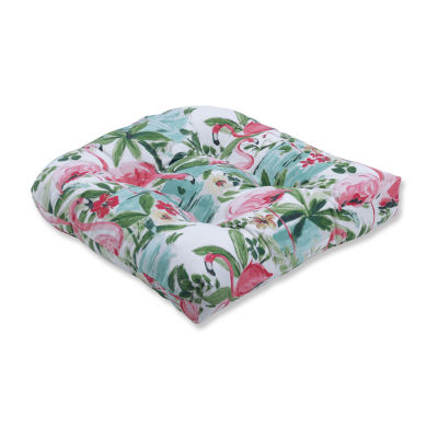 Pillow Perfect Floridian Flamingo Bloom Wicker Seat Dining Cushion