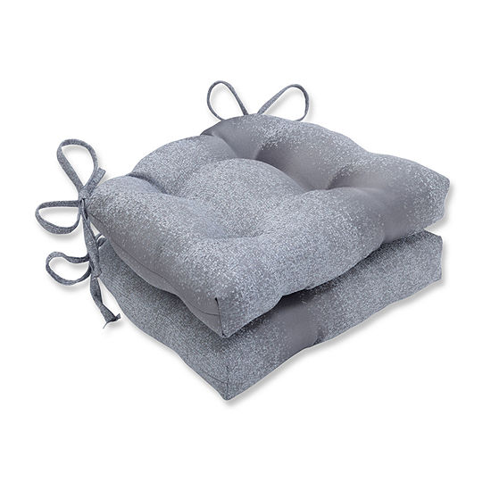 Pillow Perfect Illuminaire Pewter Reversible Chair Pad Set Of 2 Dining Cushion