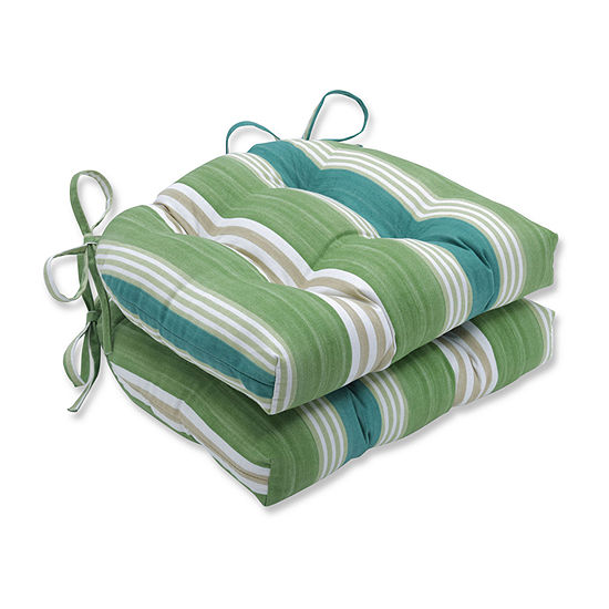 Pillow Perfect On Course Verte Reversible Chair Pad (Set Of 2) Dining Cushion