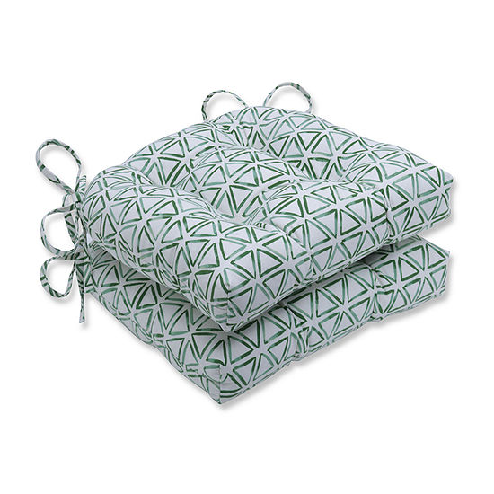 Pillow Perfect Painted Triangles Verte Reversible Chair Pad Set Of 2 Dining Cushion