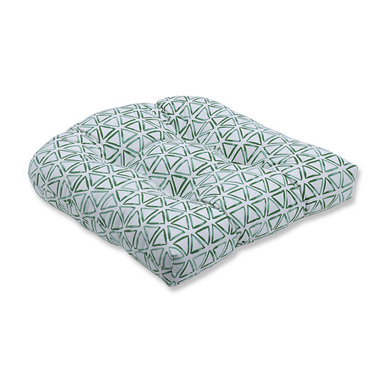 Pillow Perfect Painted Triangles Verte Wicker Seat Dining Cushion
