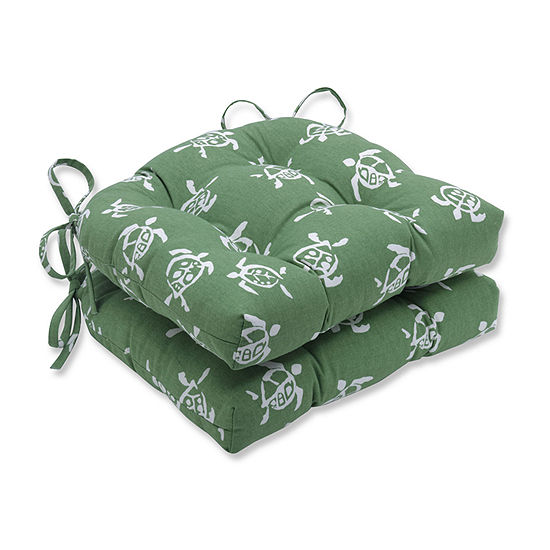 Pillow Perfect Sea Turtles Verte Reversible Chair Pad Set Of 2 Dining Cushion