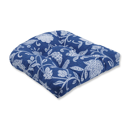 Pillow Perfect Stencil Vine Ocean Wicker Seat Dining Cushion