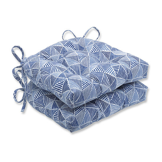 Pillow Perfect Stitches Ocean Reversible Chair Pad (Set Of 2) Dining Cushion