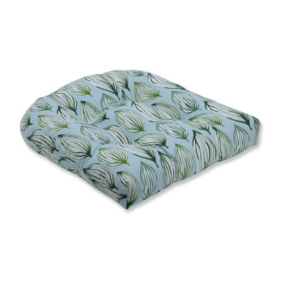 Pillow Perfect Tropical Leaf Verte Wicker Seat Dining Cushion