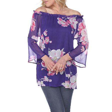 White Mark Womens Straight Neck 3/4 Sleeve Tunic Top, Small , Purple