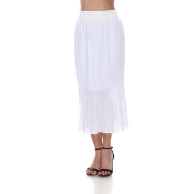 White Mark Womens Mid Rise Midi Length Pleated Skirt