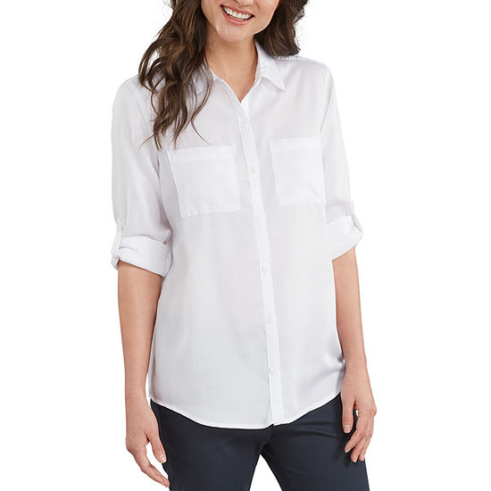 Dickies Lyocell Womens Long Sleeve Button-Front Shirt With Roll Sleeve Tab