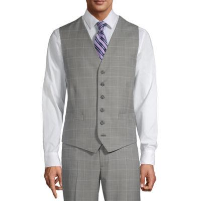 Stafford Super Suit Mens Windowpane Classic Fit Suit Vest