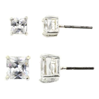 Sparkle Allure™ Square-Cut Cubic Zirconia 2-Pc. Stud Earring