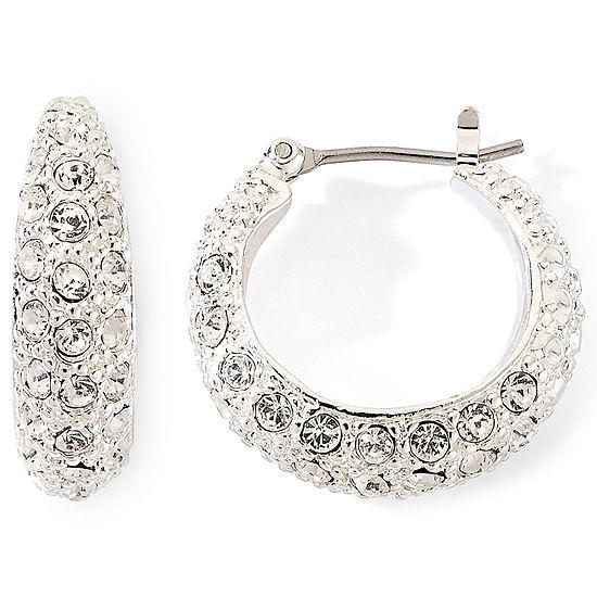 Monet Silver Tone Pavé Crystal Hoop Earrings