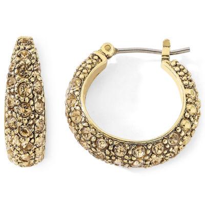 Monet® Gold-Tone Brown Pavé Hoop Earrings