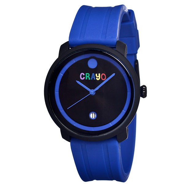 Crayo Unisex Fresh Blue Rubber-Strap Watch With Date Cracr0302