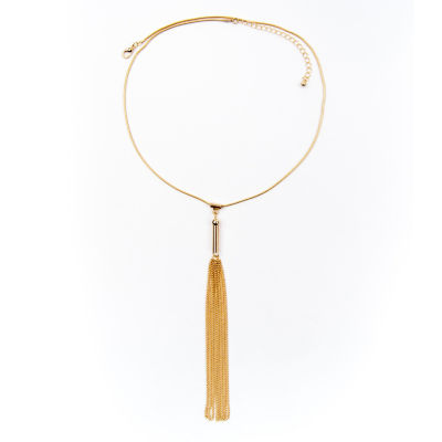 Arizona Gold-Tone Snake Chain Tassel Necklace