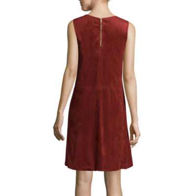 Luxology Sleeveless Faux-Suede Shift Dress