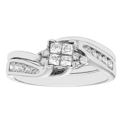 1/2 CT. T.W. Diamond 10K White Gold Bridal Set