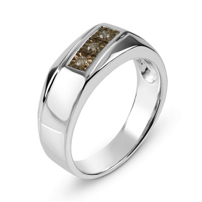 Mens 1/8 CT. T.W. Color-Enhanced Champagne Diamond Sterling Silver Ring