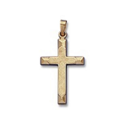 Religious Jewelry 14k Yellow Gold Polished Beveled-Edge Cross Charm Pendant