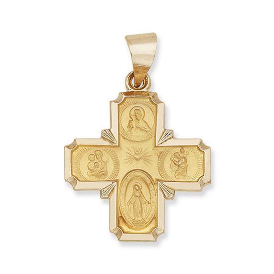 14K Yellow Gold Saints Greek Cross Charm Pendant