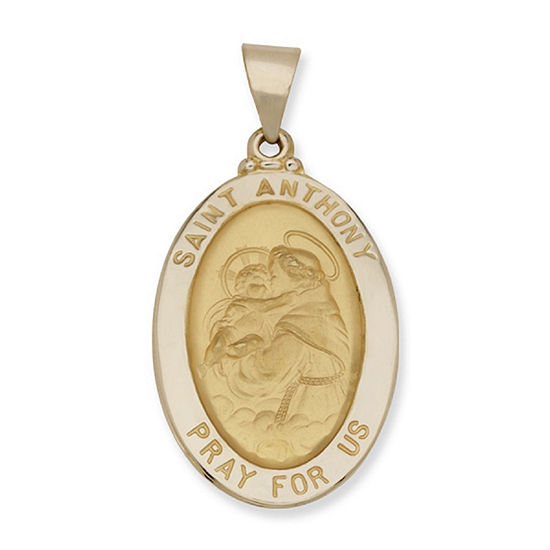 14K Yellow Gold Oval Saint Anthony Medal Charm Pendant