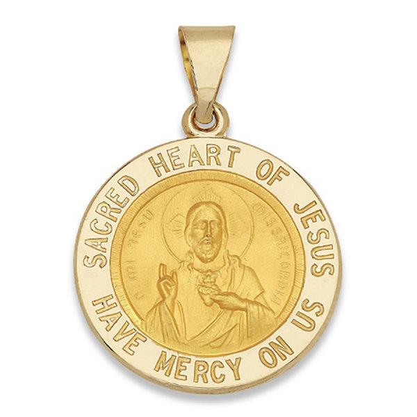 14k yellow gold round sacred heart of jesus medal charm pendant 14k yellow gold round sacred heart of jesus medal charm pendant aloadofball Images