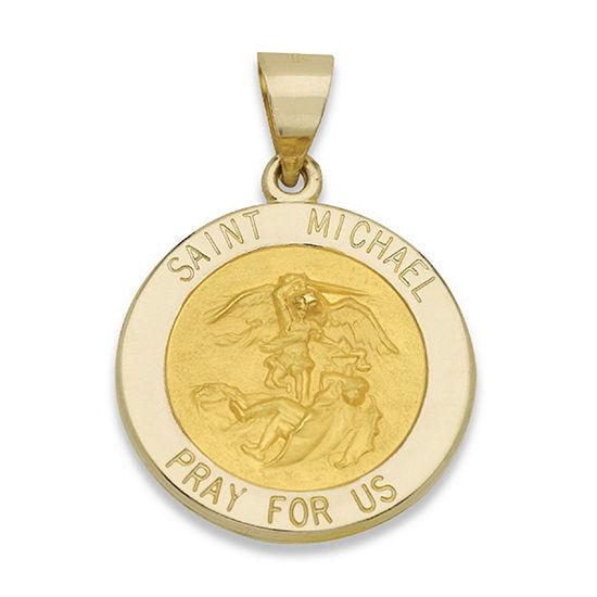 14K Yellow Gold Round Saint Michael Medal Charm Pendant