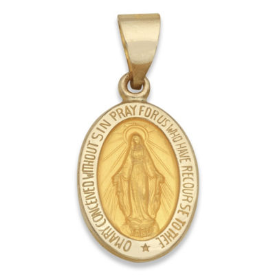 14K Yellow Gold Oval Miraculous Medal Charm Pendant