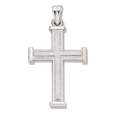 Sterling Silver Textured Latin Cross Charm Pendant