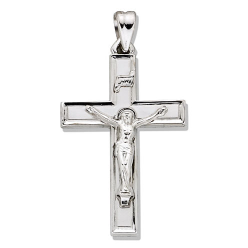 Sterling Silver Bevled-Edge Crucifix Charm Pendant