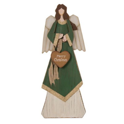 Angel Statue With Heart Tabletop Decor