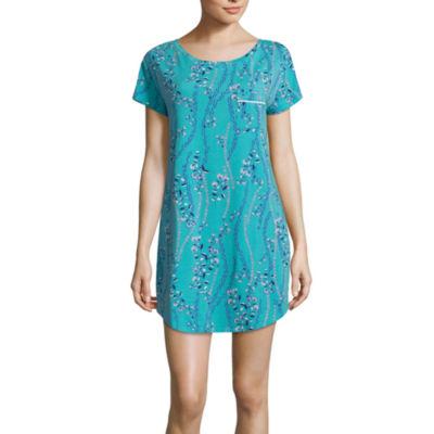 Liz Claiborne Jersey Short Sleeve Floral Nightshirt