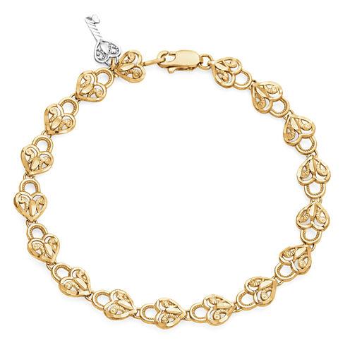 Womens 7 1/4 Inch 10K Gold Link Bracelet