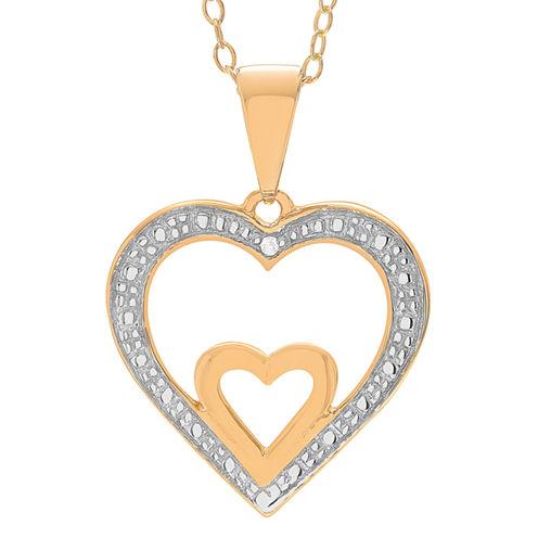 Womens Diamond Accent White Diamond 18K Gold Over Silver Pendant Necklace