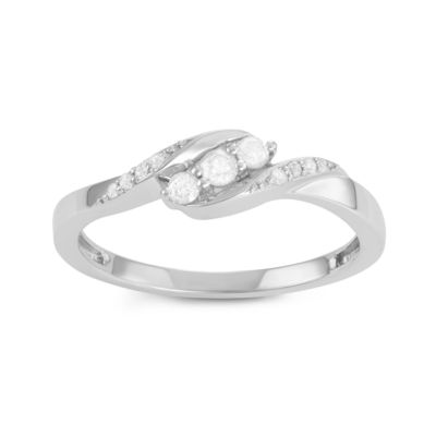 Womens 1/4 CT. T.W. Genuine White Diamond Sterling Silver Cocktail Ring