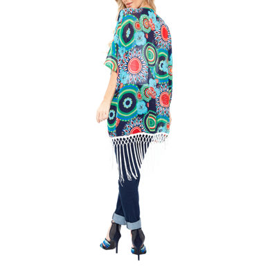 White Mark Fringe Abstract Kimono