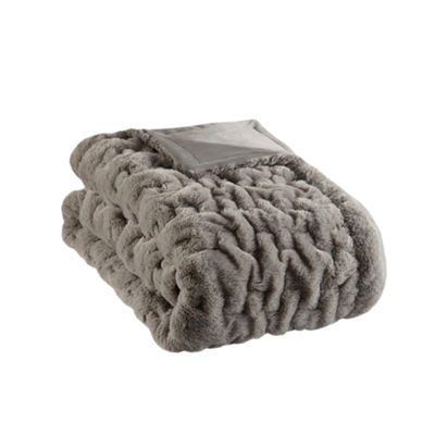 Madison Park Ruched Faux Fur Throw