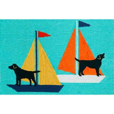 Liora Manne Frontporch Sailing Dog Hand Tufted Rectangular Indoor/Outdoor Accent Rug