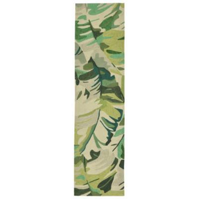 Liora Manne Capri Palm Leaf Hand Tufted Rectangular Indoor/Outdoor Runner