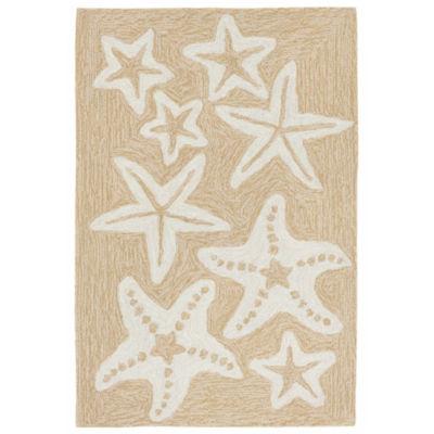 Liora Manne Capri Starfish Hand Tufted Rectangular Indoor/Outdoor Accent Rug