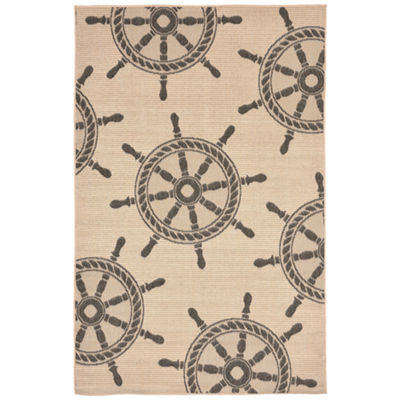 Liora Manne Terrace Shipwheel Rectangular Indoor/Outdoor Area Rug
