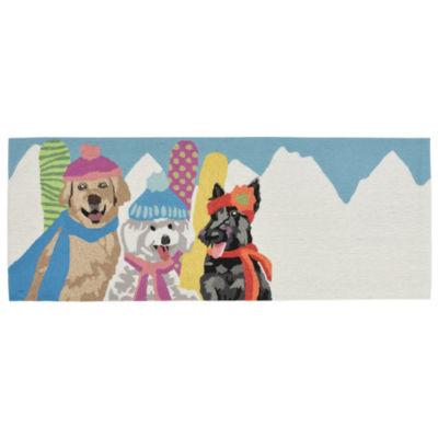 Liora Manne Frontporch Ski Bunnies Hand Tufted Rectangular Runner