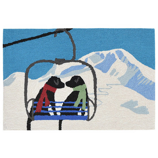 Liora Manne Frontporch Ski Lift Love White Hand Tufted Rectangular Indoor/Outdoor Rugs