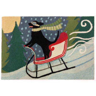 Liora Manne Frontporch Sledding Dog Hand Tufted Rectangular Indoor/Outdoor Rugs