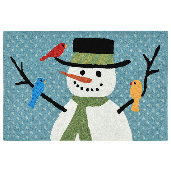 Liora Manne Frontporch Snowman And Friends Hand Tufted Rectangular Indoor/Outdoor Rugs
