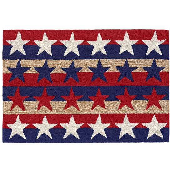 Liora Manne Frontporch Stars And Stripes Hand Tufted Rectangular Indoor/Outdoor Rugs