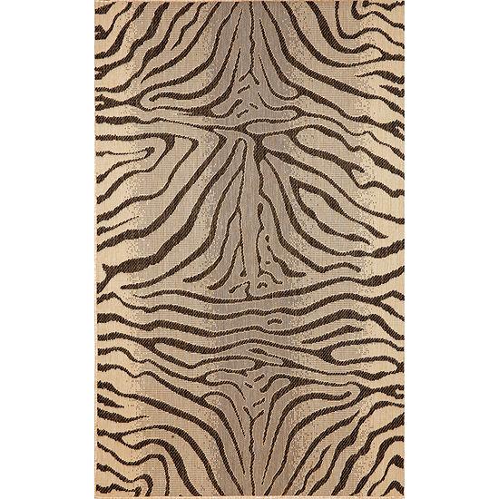 Liora Manne Terrace Zebra Rectangular Indoor Outdoor Rugs