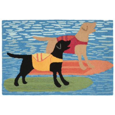 Liora Manne Frontporch Surfboard Dogs Hand Tufted Rectangular Rugs