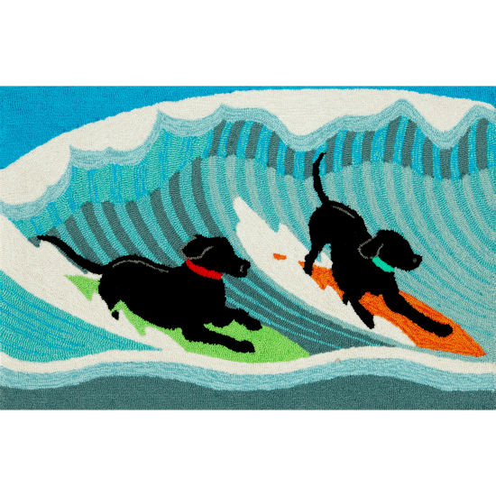 Liora Manne Frontporch Surfing Dogs Hand Tufted Rectangular Rugs