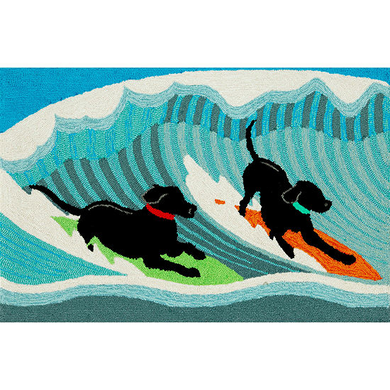 Liora Manne Frontporch Surfing Dogs Hand Tufted Rectangular Indoor/Outdoor Rugs