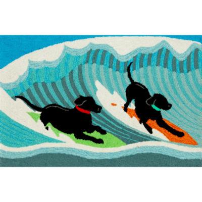 Liora Manne Frontporch Surfing Dogs Hand Tufted Rectangular Rugs